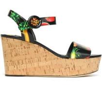 Printed patent-leather wedge platform sandals