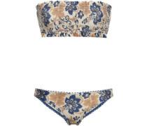 Shirred Bandeau Bikini Beige Size 0