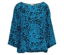Draped Printed Silk Top Azure