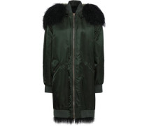 Shearling-trimmed shell hooded coat