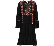 Embroidered Woven Mini Dress Black