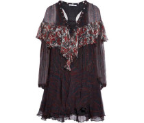 Lace-up printed ruffled georgette mini dress