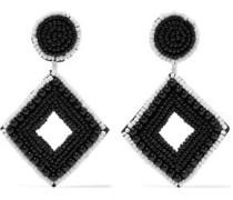 Beaded silver-tone earrings