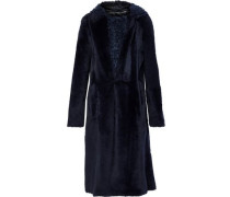 Reversible Shearling Hooded Coat Midnight Blue