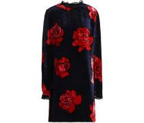 Olympia ruffle-trimmed floral-print velvet mini dress