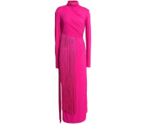 Fringed ruched stretch-jersey midi dress