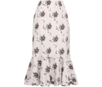 Fluted Floral-print Satin-crepe Midi Skirt Neutral