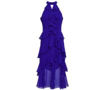 Asymmetric Tiered Ruffled Georgette Gown Indigo Size 0