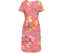 Woman Floral-print Stretch-cotton Ottoman Dress Bubblegum