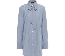 Pussy-bow Striped Cotton-poplin Shirt Light Blue
