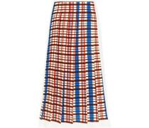 Pleated checked crepe midi skirt