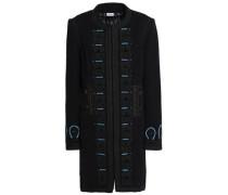 Embroidered Wool-blend Felt Coat Black Size 12