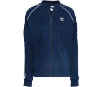 Embroidered Jersey Bomber Jacket Navy