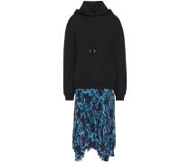 Woman Emilee Cotton-fleece And Floral-print Crepe De Chine Hooded Midi Dress Black