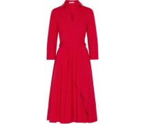 Cotton-blend Poplin Midi Wrap Dress Red