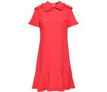 Ruffled Crepe Mini Dress Coral