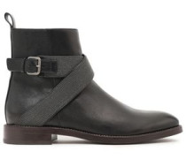 Buckle-detailed Bead-embellished Leather Ankle Boots Black