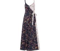 Wrap-effect Printed Stretch-cotton Poplin Midi Dress Midnight Blue