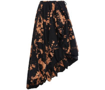 Asymmetric Printed Cotton-twill Wrap Skirt Black