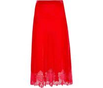 Guipure Lace-trimmed Velvet Midi Skirt Red