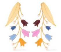 Gold-tone, Faux Pearl And Enamel Earrings Gold Size --