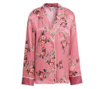 Lillit Floral-print Satin Pajama Top Antique Rose