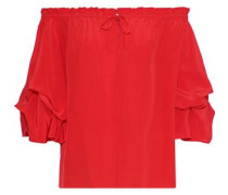 Woman Georganne Off-the-shoulder Ruffled Silk Top Tomato Red