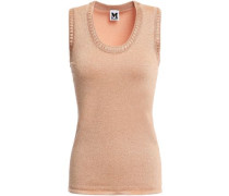 Metallic Stretch-knit Top Antique Rose