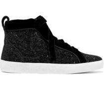 Woman Camil Velvet-trimmed Glittered Woven High-top Sneakers Black