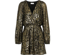 Elsa Marina Metallic Fil Coupé Silk-blend Mini Wrap Dress Gold