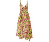 Wrap-effect Floral-print Silk Crepe De Chine Midi Slip Dress Chartreuse Size 0