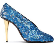 Sequined woven pumps