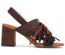 Tasseled Leather And Suede Slingback Sandals Chocolate