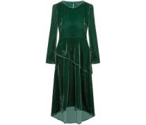 Remanio Layered Velvet Midi Dress Forest Green Size 1