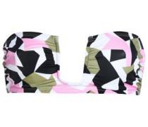 Ruched printed bandeau bikini top