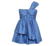 One-shoulder Twist-front Cotton-blend Poplin Top Blue