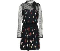 Pussy-bow Embellished Point D'esprit Mini Dress Black