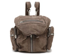Zip-detailed suede backpack