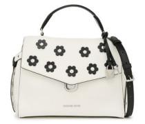 Floral-appliquéd Studded Textured-leather Shoulder Bag White Size --