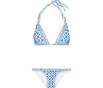 Salvador Summer Ball Embellished Floral-print Triangle Bikini Blue