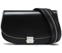 Zip-detailed leather shoulder bag