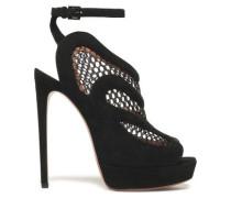 Mesh And Suede Platform Sandals Black