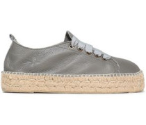 Canyon Pebbled-leather Espadrille Sneakers Gray