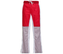 Color-block Shell Straight-leg Pants Red