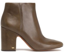 Glossed-leather Ankle Boots Army Green
