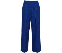 Pleated Embroidered Cotton-blend Twill Wide-leg Pants Royal Blue