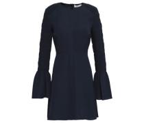 Alexa Shirred Silk-crepe Mini Dress Midnight Blue