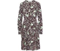 Embellished Chiffon-paneled Printed Silk Crepe De Chine Dress Merlot