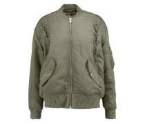 Distressed shell bomber jacket