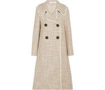 Double-breasted faux leather-trimmed tweed coat